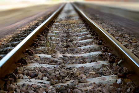 railroads: The railway junction  and speed motion background Stock Photo