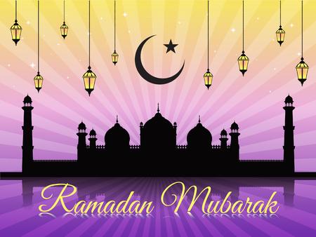 masjid: Ramadan mubarak - moon star lantern and masjid on violet vector background Badshahi mosque
