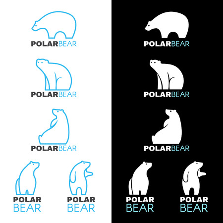 파란색, 흰색 북극곰 아이콘 벡터 디자인 일러스트