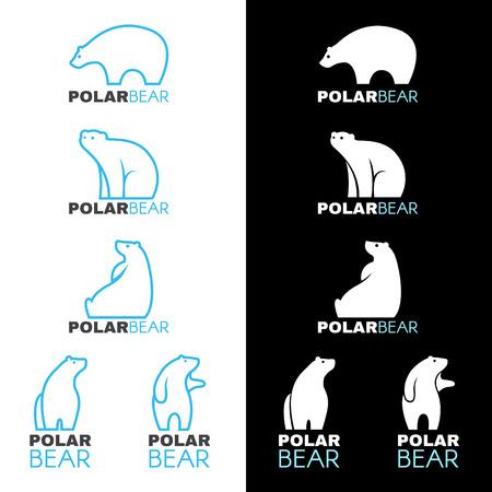 oso blanco: Icono de oso polar de diseño vectorial blanco Azul