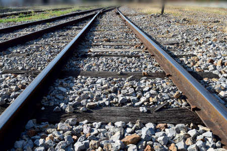 train tracks: The railway junction  and speed motion background Stock Photo