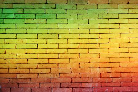 rasta colors: green red yellow brick Wall background Reggae style