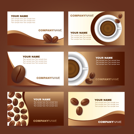 coffee business card template vector set design