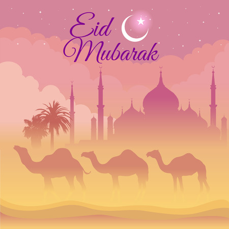 festival occasion: Eid Mubarak - camel and mosque on the desert at night