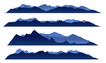 Blue sky mountain view set vector design