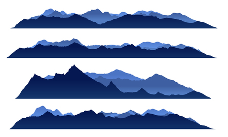 Blue sky mountain view set vector design