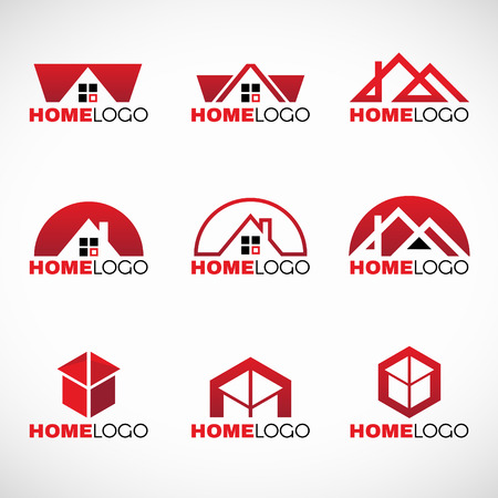 huis logo: Red and black Home logo set vector design