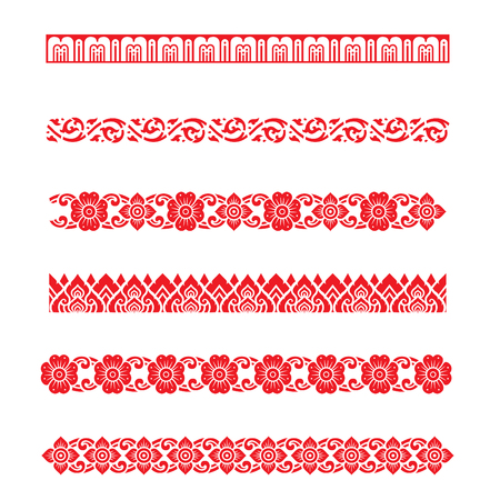 thai style: Line pattern Asian traditional art Design Vector, Thai traditional design  Lai Thai pattern
