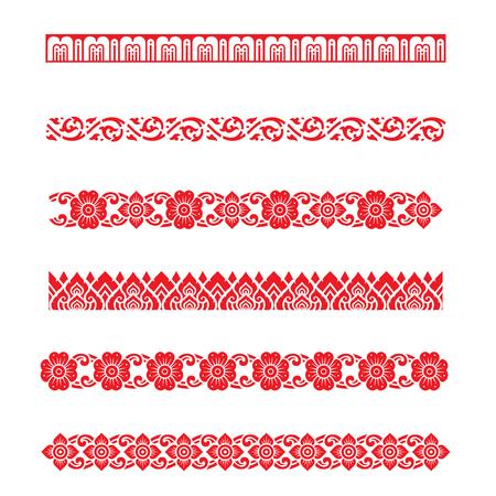 Line pattern Asian traditional art Design Vector, Thai traditional design  Lai Thai pattern