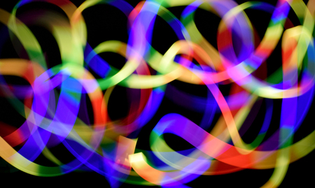 woman on cell phone: colorful line come from light mobile phone move Stock Photo