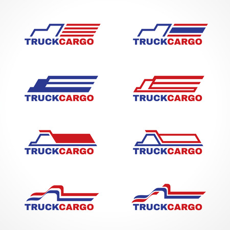 cargo truck: Blue red truck cargo icon vector design