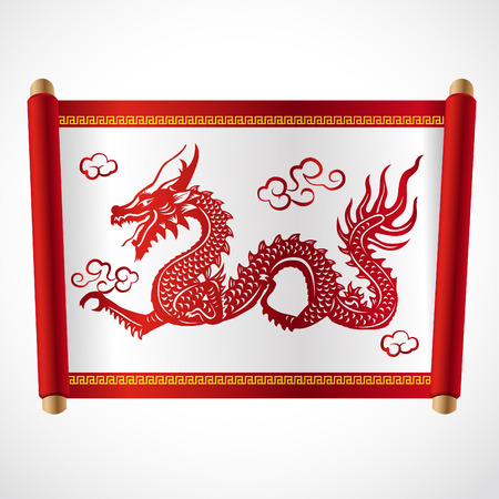 schriftrolle: Red letter Roll and red dragon china Vektor-Design- Illustration