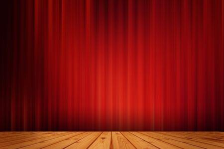 drape: Red black drape cinema  and wood floor