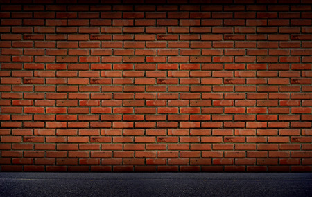 brick road: Old brick Block wall background and road floor Stock Photo