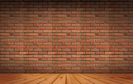 old wood floor: Old brick Block wall background and wood floor