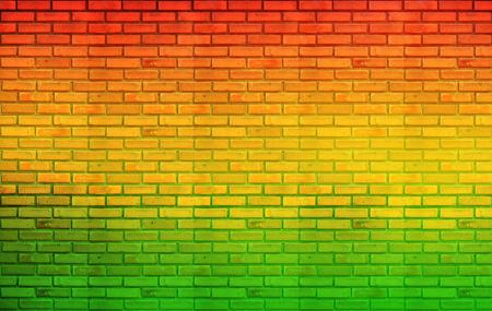 reggae: fond jaune briques de mur rouge vert style Reggae