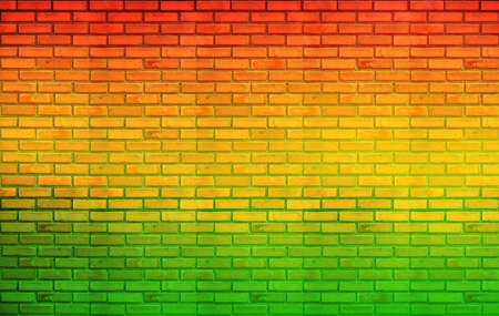 blue background texture: green red yellow brick Wall background Reggae style