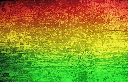 Green red yellow grunge wood background Reggae style Stock Photo