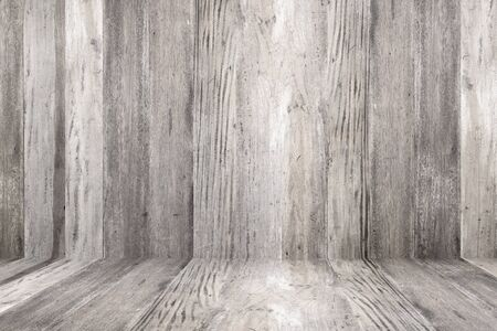 abstract  white: Old grunge wood flooring and wood wall