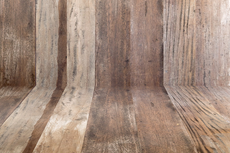 Old grunge wood flooring and wood wall