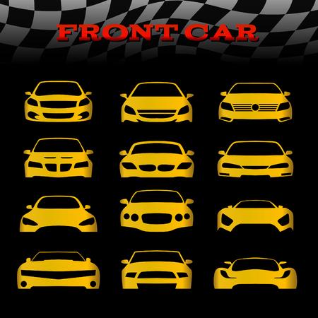 silueta: Amarillo delantera del coche cuerpo y banderas a cuadros conjunto de vectores de diseño