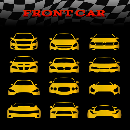 mini car: Yellow front body car and Checkered flags vector set design