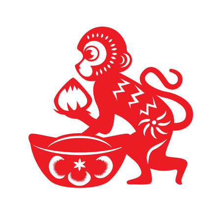 赤い紙カット猿干支シンボル猿桃と古代中国のお金を保持しています。