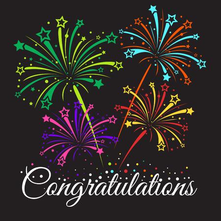 felicitaciones: Felicidades texto y de la estrella de fuegos artificiales abstracta vectoriales