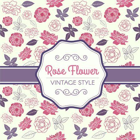 flora vector: Pink Rose and purple leaf vintage pattern vector design