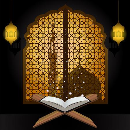 Koran licht ster lantaarn en moskee in het venster Arabisch