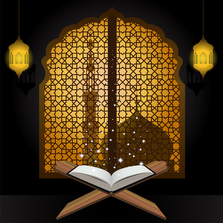 holy book: Quran light star lantern and mosque in window arabic
