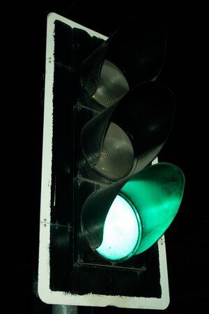 trafic stop: Close up Green Traffic lights at night