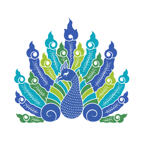 peacock: The Peacock showing tail vector signs design