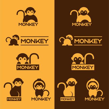 黄色と茶色の猿セット デザイン