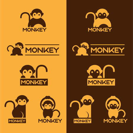 monkey silhouette: Yellow and Brown Monkey set design