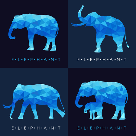 low poly: Elephant - Blue low poly set Design Illustration