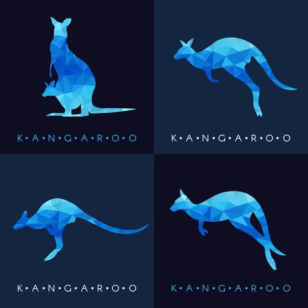 kangaroo white: Kangaroo - Blue low poly set Design