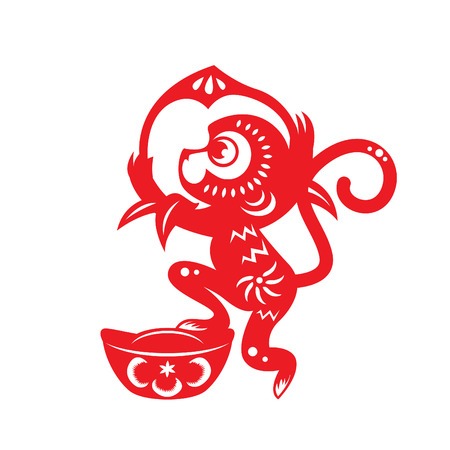 chinese festival: Red paper cut monkey zodiac symbol monkey holding peach and monkey