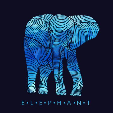 siluetas de elefantes: Elefante - borde de línea y bajo Diseño Azul poli Vectores