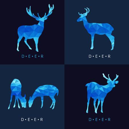 reindeer silhouette: Deer - Blue low poly set Design Illustration
