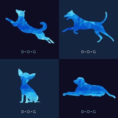Dog - Blue low poly set Design