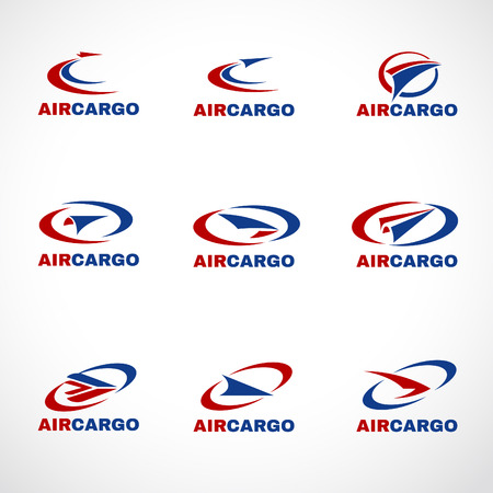 air mail: Air Plane Transportation cargo or shipping logo business vector Illustration