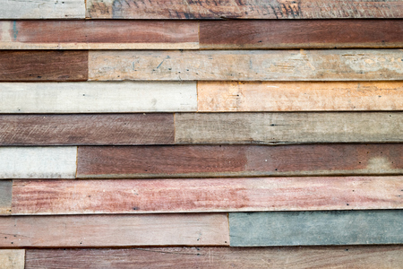 Old Wood sheet wall in thai house style Archivio Fotografico