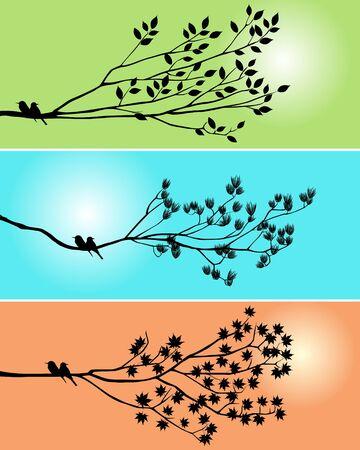 wall decal: Black shadow bird and tree branch 3 season style