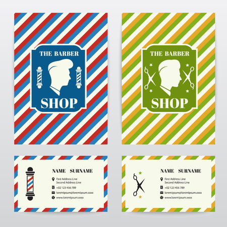 white pole: Cover and card Template design for barber shop