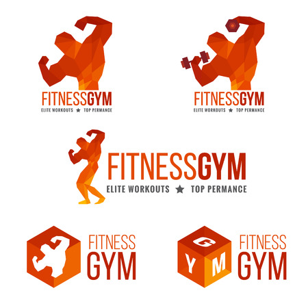 Fitness gym logo Mens muscle strength and weight lifting