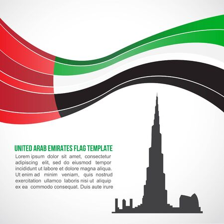 arab flags: United Arab Emirates flag wave and Burj Khalifa