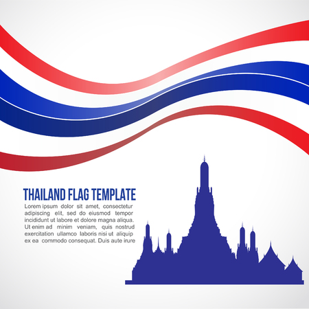 thai culture: Thailand flag wave and wat arun temple bangkok