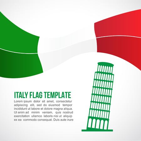 tower of pisa: Italy flag wave and The Leaning Tower of Pisa
