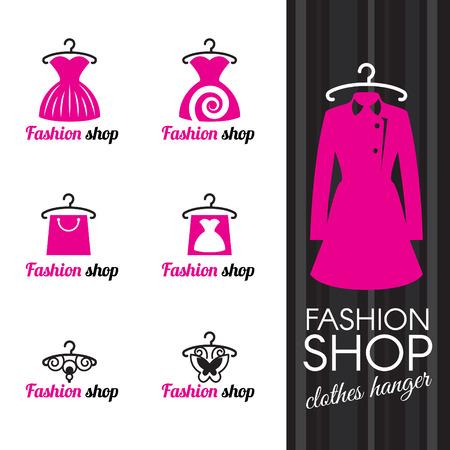 mode: Klädhängare och klä shoppingväska och fjäril Illustration